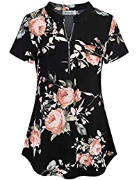 Women's Summer Tops Short Sleeve Casual Blouse Zip Floral Tunic Shirts