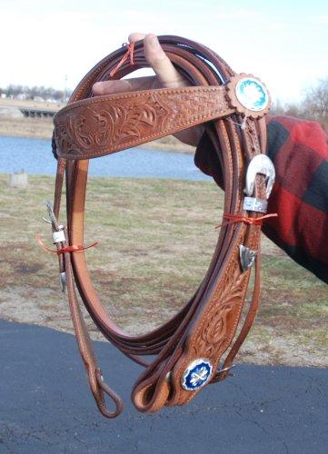 Amazon com : Buckaroo Style Bridle & Reins Wide Cheek with