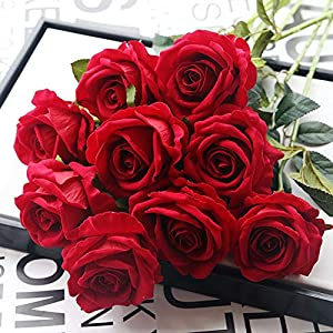Norbi 1 pcs Artificial Flowers Fake Flowers Artificial Roses Real Touch Fake Roses for Wedding Home Bouquets Party Centerpieces Decorations 120
