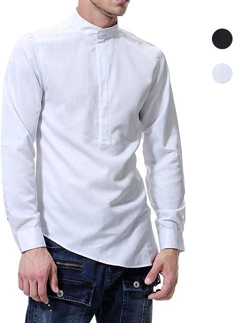 X&Armanis Camisa de Cuello Alto para Hombre, Camisa Transpirable en Mezcla de algodón Camiseta de Manga Larga en Color Liso (bajo Irregular): Amazon.es: Deportes y aire libre