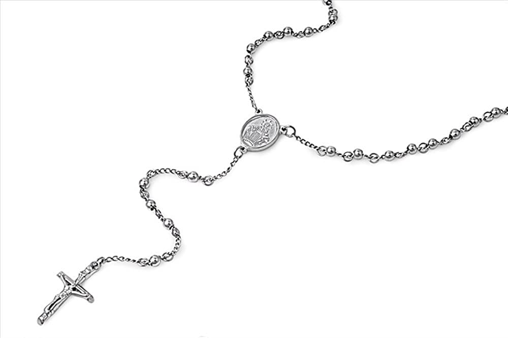 5mm Beads Stainless Steel Rosary Necklace