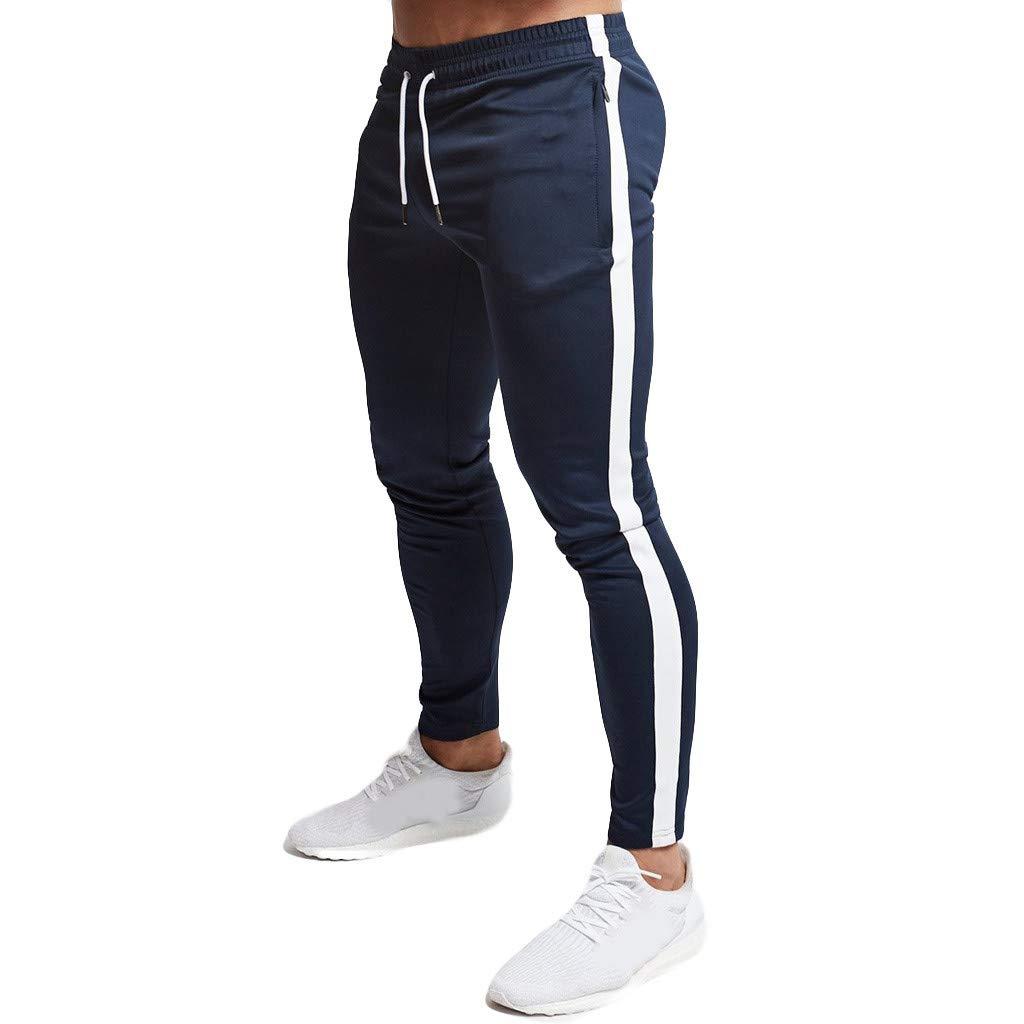 YOcheerful Men's Gym Pants, Men Trendy Sportswear Trousers Sports Tight Pants Fitness Training Pants Running Pants Navy