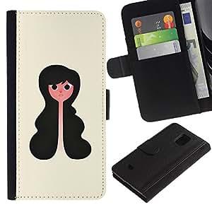 LASTONE PHONE CASE / Lujo Billetera de Cuero Caso del tirón Titular de la tarjeta Flip Carcasa Funda para Samsung Galaxy S5 Mini, SM-G800, NOT S5 REGULAR! / Portrait Girl Art Black Hair Wavy Style