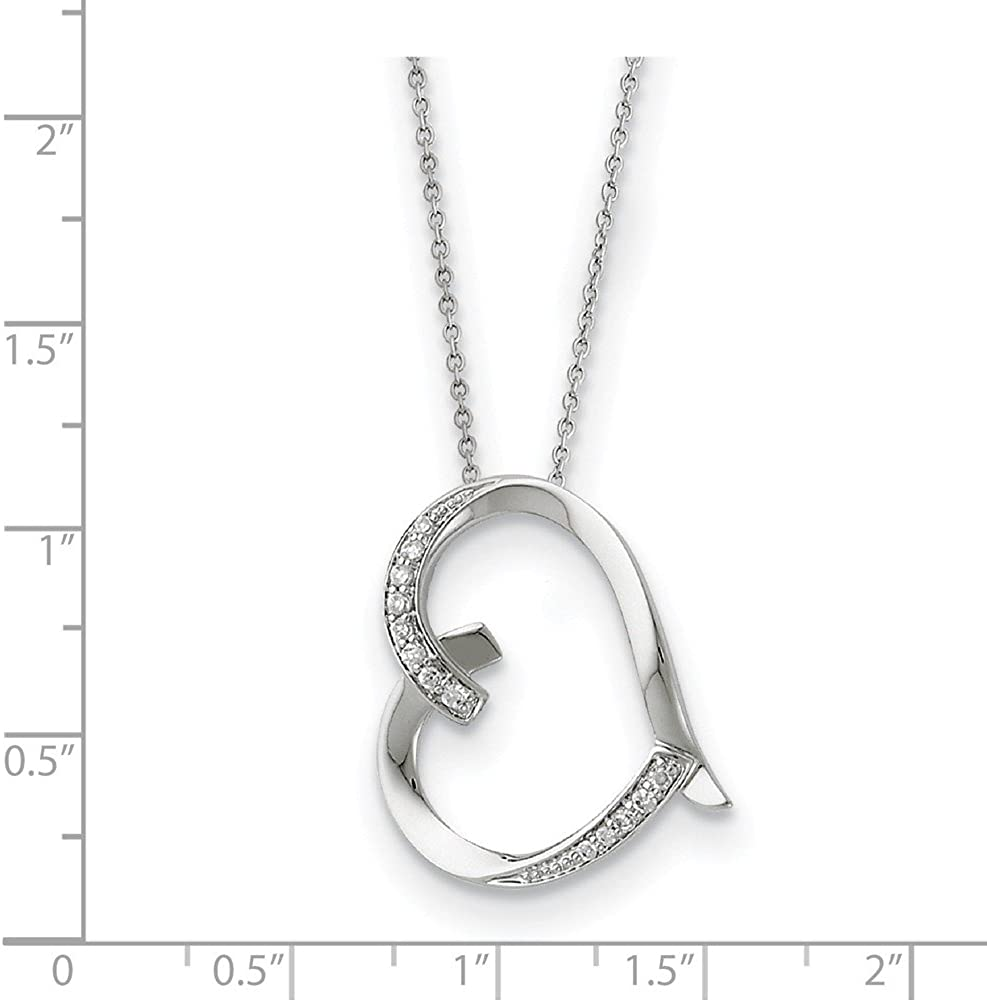 925 Sterling Silver Vintage Antiqued CZ Cubic Zirconia Love You Mom 18in Pendant Necklace Charm Chain 18