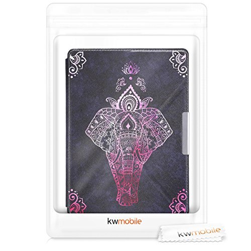 kwmobile Cover case for Kobo Aura ONE with stand - Ultra slim case made of synthetic leather Elephant Sketch in dark pink anthracite by kwmobile (Image #7)