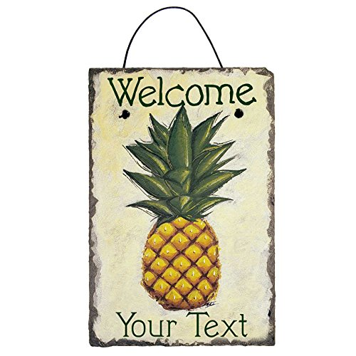 - Cohas Personalized Welcome Pineapple Sign on 8 by 12 inch Slate Board with Hand-Painted Pineapple on Off-White Background and Custom Text
