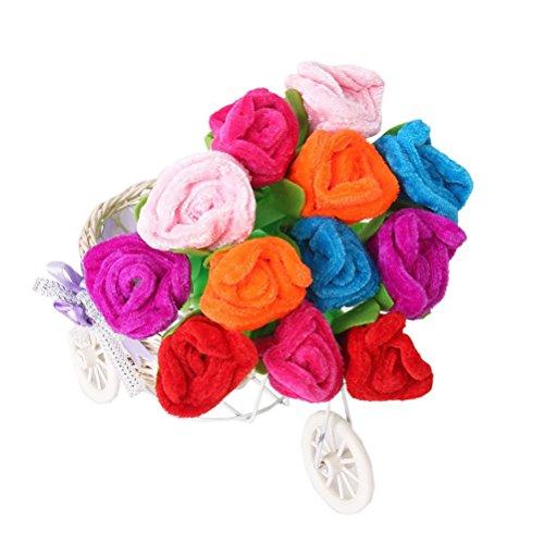 NUOLUX 12pcs Blue Ink Ballpoint Pen Rose Flower Decor (Random Color) -