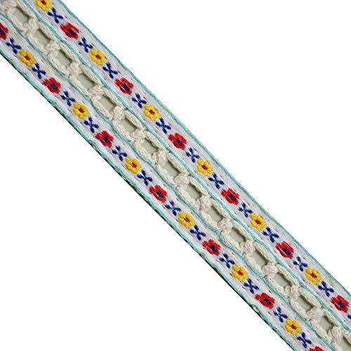 Jacquard Woven Floral Multi, Crochet faggoting Natural Center,LE1021, Width:1-1/4