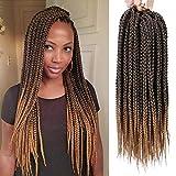 Stamped Glorious 18 Inch Straight Box Braids Crochet Hair Extensions Dreadlocks Twist Crochet Braids Hairstyles Kanekalon Braiding Hair Braid Styles Long for Women 3 Packs 48 Strands/Pack