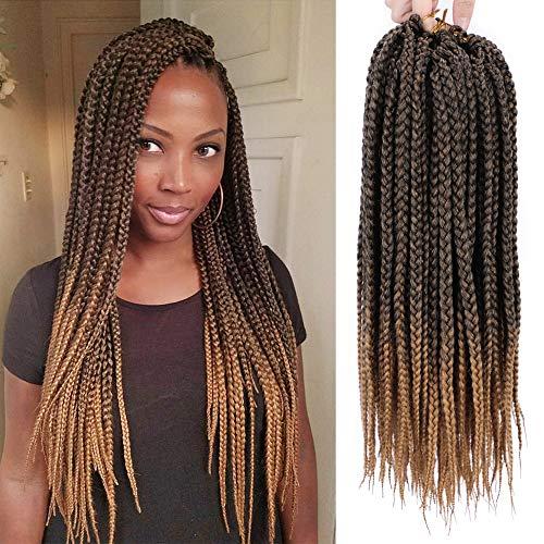 Stamped Glorious 18 Inch Straight Box Braids Crochet Hair Extensions Dreadlocks Twist Crochet Braids Hairstyles Kanekalon Braiding Hair Braid Styles Long for Women 3 Packs 48 -