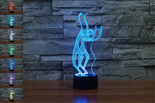 YBest 3D Dancer LED Night Light 7 Colors Changing Novelty Table Lamp Touch Switch Desk Lamp-USB Powered for Home/Office Decorations/Gifts