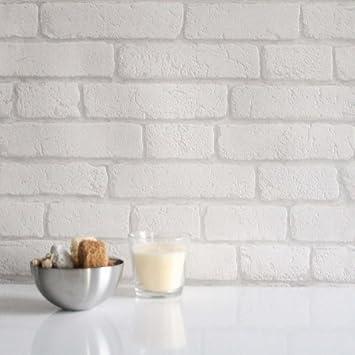 Tapete weiß muster  Koziel Backsteinoptik Tapete weiß - Muster: Amazon.de: Küche ...