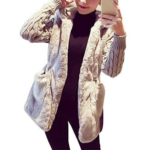 Wooniu Women Warm Faux Lamb Wool Winter Coat Long Sleeve Knit Cardigan Sweater Outwear Grey (Drawstring Wool Sweater)