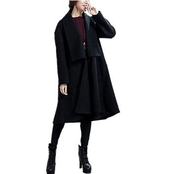 Da Wu Jia Abrigo de señoras señoras otoño/invierno largo de lana estilo trinchera en cashmere abrigo , Negro , xl: Amazon.es: Deportes y aire libre