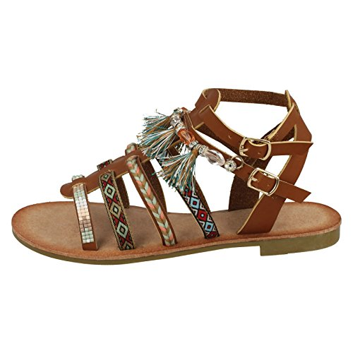 Savannah Ladies Flat Strappy Beaded Sandals Tan (Brown) dAVfT