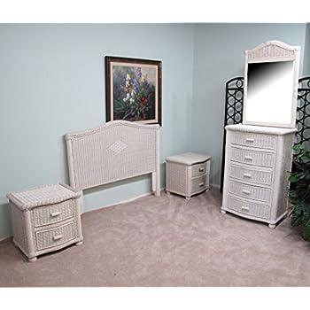 White Wash Wicker 4 Piece Bedroom Set Santa Cruz Includes Queen Headboard Ns 6