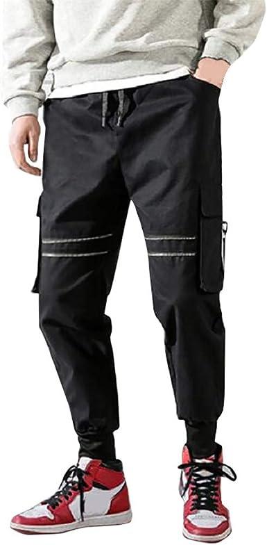 Geilisungren Pantalón para Hombre Casual Chino Algodón Cargo Slim Jogging Casual Pantalones de Hombre Casuales Deporte Joggers Pants Elásticos Joggers(1-Negro, L): Amazon.es: Ropa y accesorios