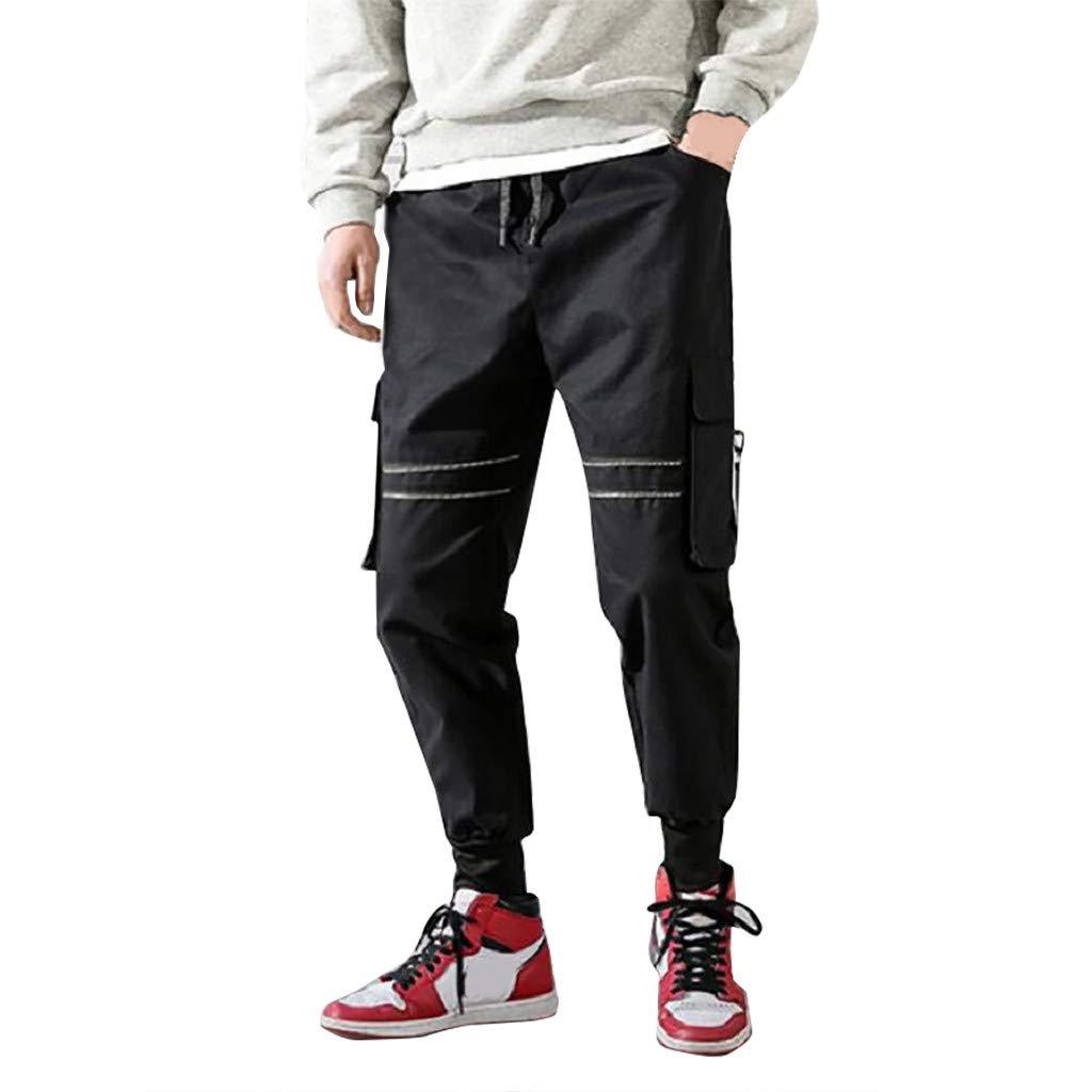 Seaintheson Men's Casual Cargo Pants,Fashion Multi-Pocket Outdoors Sports Overalls Pants Slim Fit Gym Workout Sweatpants Black