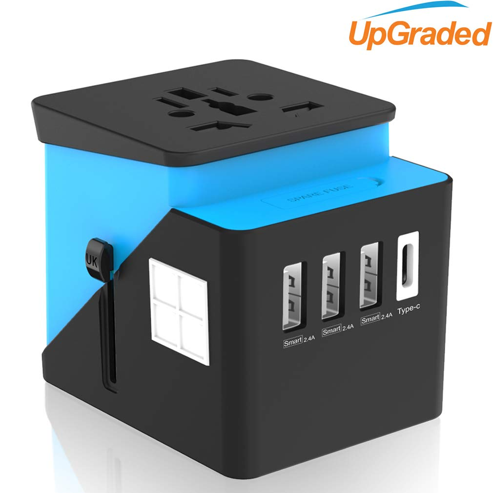 Travel Plug Adapter, Universal Travel Adapter, Travel Power Plug Adapter, International Power Adapter with 3.4A 3 USB & 1 Type-C, for UK, EU, US, AUS, and More 170 Countries (Green) Ougrand