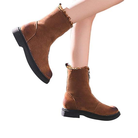 Stiefel Damen Leder Klassische Boots Freizeitschuhe Frauen Winter Schuhe  Zip Warm Halten Flache Baumwolle Stiefel Damen 62e0e23f1b