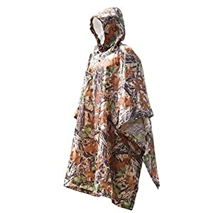 HIKA Multi-functional Camouflage Unisex Poncho/ Dampproof Mat / Sunshade 3-in-1 Outdoor Waterproof Cover,fit for Climbing/hiking/camping/cycling/fishing and Hunting.