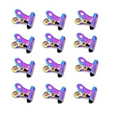 MEI YI Tian Metal Bulldog Clips 1.22 inch 12 Pack Duckbill Clamps Rainbow Style Colored Holographic Steel Home Decor, Arts & Crafts, Photos