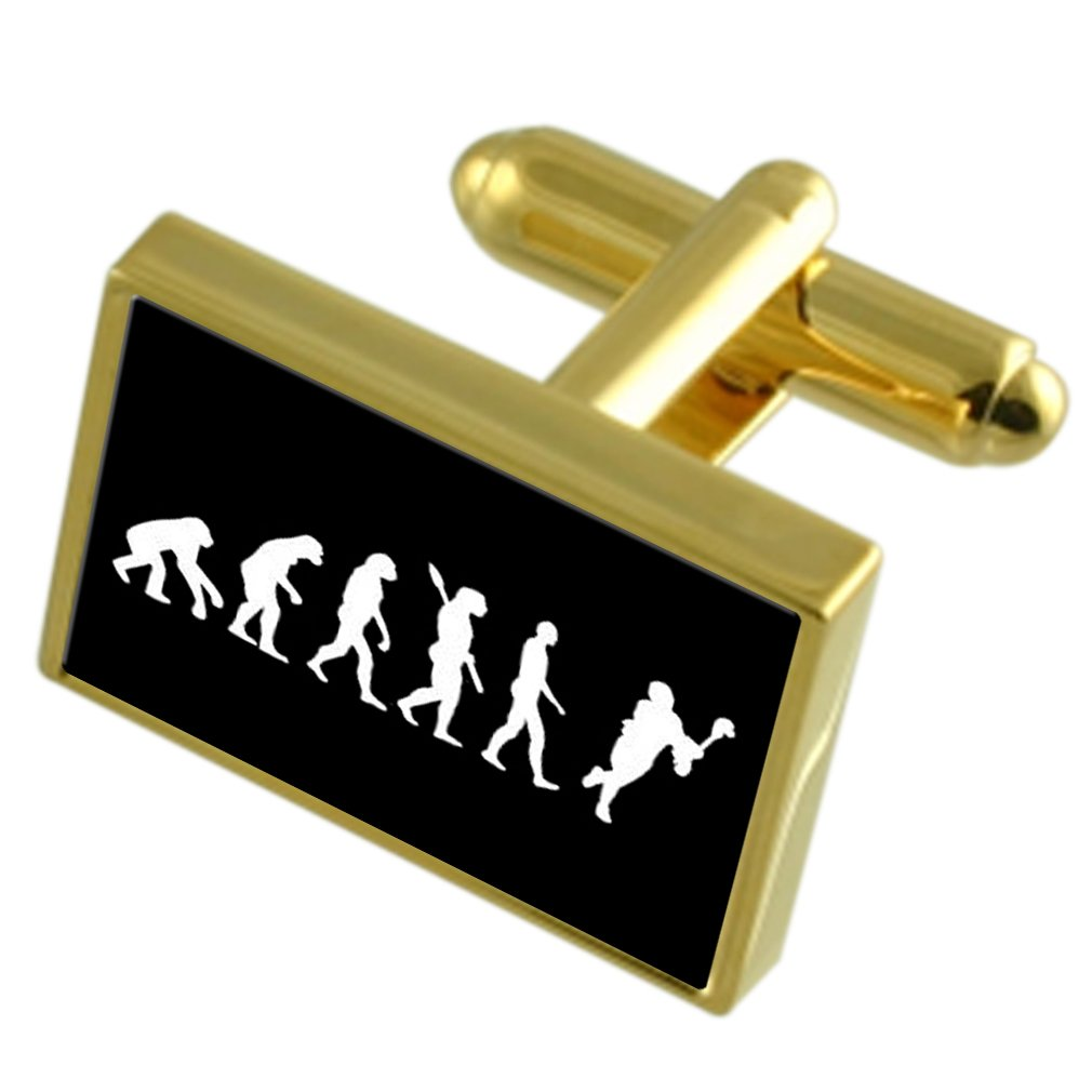 Select Gifts Evolution Ape to Man Lacrosse Gold-Tone Cufflinks Black Pouch