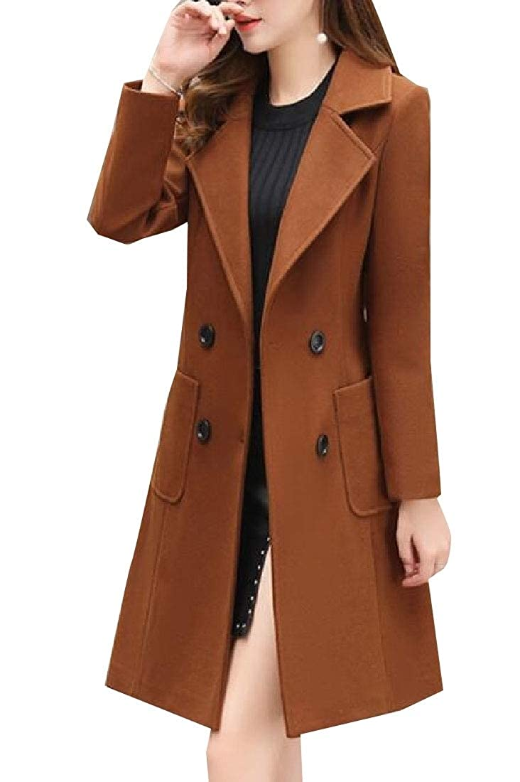 2 Keaac Women Coat Long Sleeve Trench Coat Wool Blend Jacket Lapel Outwear