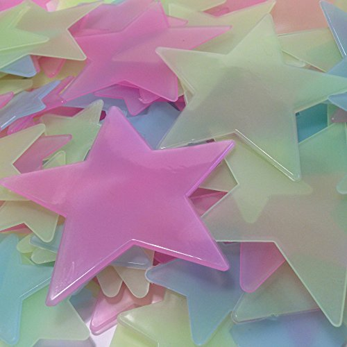 Green Large Dark (Rayliad 150 Large Multi-Color Glow In The Dark Stars - Bright, Long-Lasting, 2X Strength - Green, Blue, Pink - 1.5, 2.5, Huge 3.5 Inch - Adhesive Included)