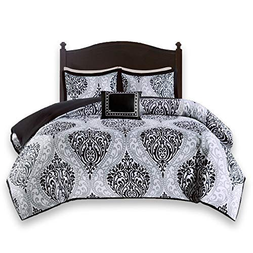 Comfort Spaces Coco 4 Piece Comforter Set Ultra Soft Printed Damask Pattern Hypoallergenic Bedding, Full/Queen, Black