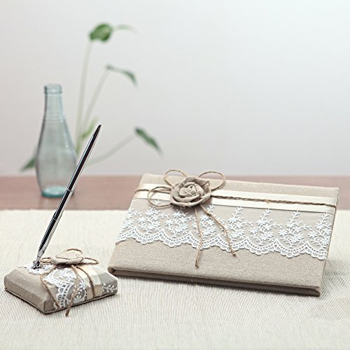 KateMelon Wedding Accessories Lace and Rustic Guest Book and Pen Set by KateMelon