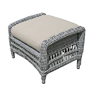 Garden Rattan Foot Stool - Paddock Footrest with Cushion - Wicker Weave - Beige Cushion