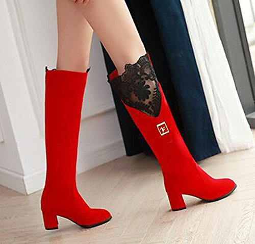 CHFSO Womens Stylish Solid Round Toe Buckle Mid Chunky Heel Knee High Boots Red ylg3uP