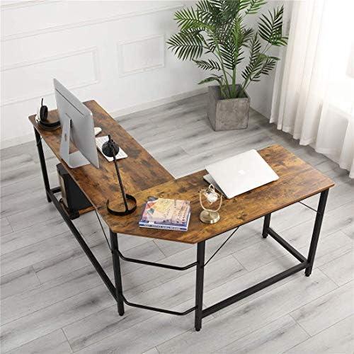 GREATMEET L Shaped Computer Desk Office Desk Corner,Metal Gaming Desk