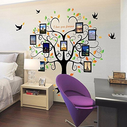 Family Tree Wall Decal - 9 Large Photo Picture Frames - Peel and Stick Wall Decal - Best Removable Wall Decal for Living Room, Bedroom, Kids Rooms, Mural Decor - 80'' Wide x 63'' Tall by GoGoDecal (Image #2)