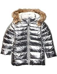 Amazon Brand - Spotted Zebra Kids Girls Long Puffer Coat, Silver Metallic, X-Small