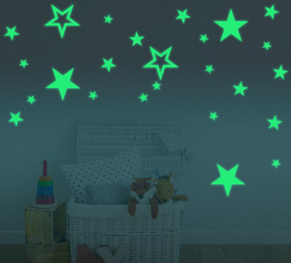 Silly 54pcs Extra High Lighting Home Wall Ceiling Glow in the Dark Stars Stickers Decal for Baby Kids Bedroom, Stars in three Sizes, in two Styles