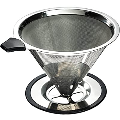 Yitelle Stainless Steel Pour Over Coffee Cone Dripper with Cup Stand and Scooping Spoon Plus Cleaning Brush
