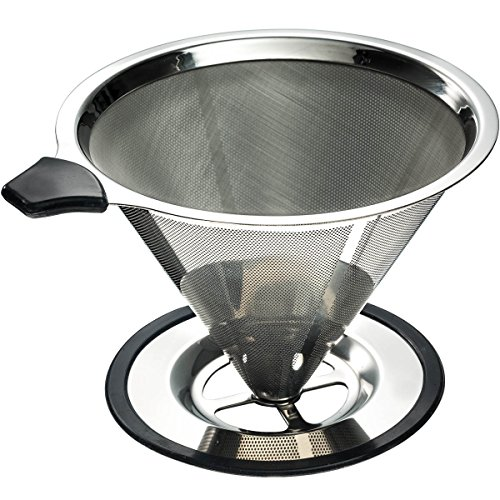 Yitelle Stainless Steel Pour Over Coffee Cone Dripper with Cup Stand and Scooping Spoon ...