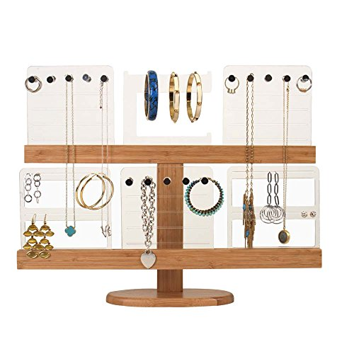 G.U.S. 2-Tier Deluxe Bamboo & Acrylic Jewelry Organizer Tree Tower for Necklaces, Bracelets, Earrings