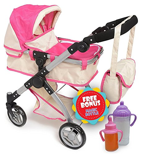 Exquisite Buggy, DOLL Bassinet DELUXE Stroller with Diaper Bag, Adjustable handle - 2 FREE Magic Bottles Included (Push Buggy Pink Around)