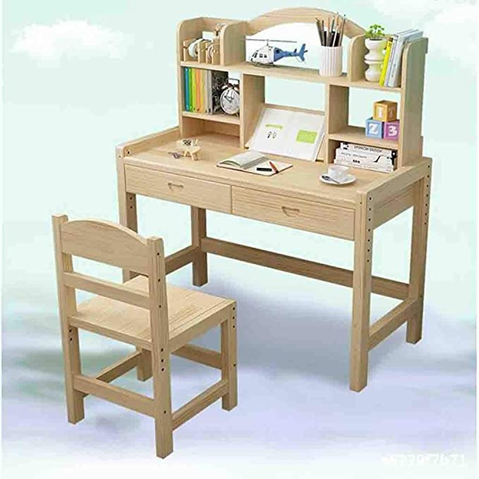 Kid Desk Benficial Children Study Desk boy and Girl Homework Desk and Chair Set Light