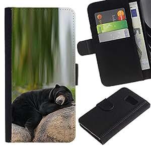 Samsung Galaxy S6 / SM-G920 , la tarjeta de Crédito Slots PU Funda de cuero Monedero caso cubierta de piel ( Bear Sleepy Alaska Black Nature Green)