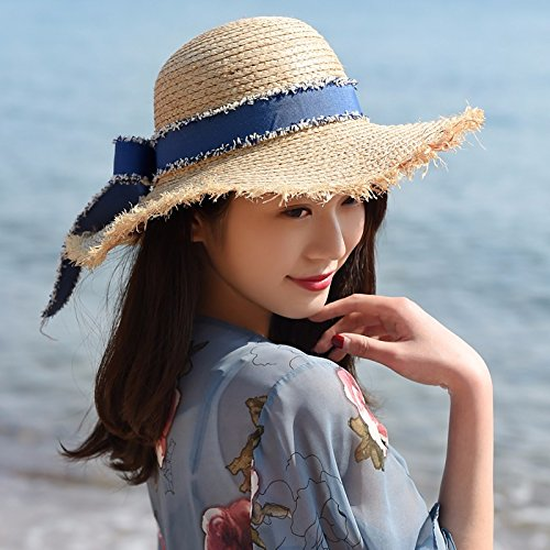 Sombrero de Paja femenina playa verano sombrero de paja grandes aleros  sunscreen sombrilla ajustable 25cb948073a