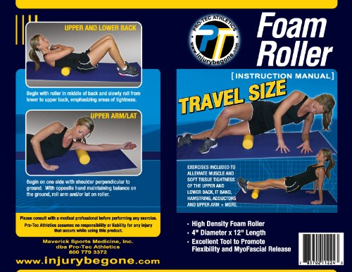 Pro-Tec Athletics Travel Size Foam Roller, 4 x 12-Inch