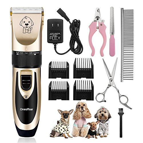 Pet Grooming Clippers Kit,Rechargeable Cordless Dog Cat HorseTrimmer Pet Grooming Tool Professional Dog Hair Trimmer with Comb Guides scissors Nail Kits for Dogs Cats (Comb Guides scissors Nail Kits)