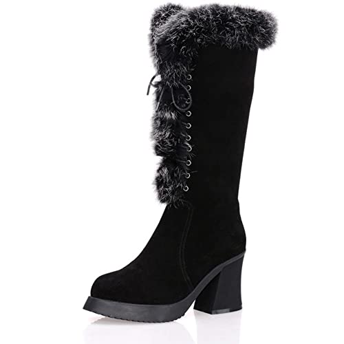 97a5c04f96e VASHOP Women s Knee High Gladiator Fur Lined Lace Up High Block Heel Winter  Boots