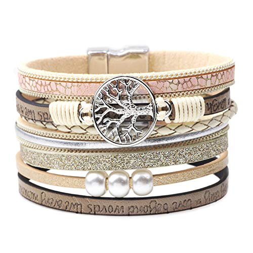 KSQS Bohemia Multilayer Wide Leather Cuff Handmade Wristbands Braided Magnetic Buckle Casual Bangle Bracelet for Women&Girl