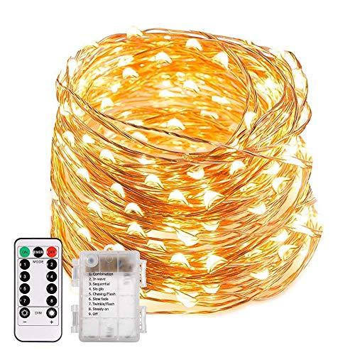 ECOWHO LED String Lights, 66ft 200 LED Waterproof Starry Fairy Lights, 8 Lighting Modes, Battery Powered Decorative Lights for Patio, Garden, Wedding (Warm -