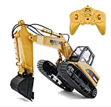 DoToy 15 Channel Full Functional RC Excavator,Electric Remote Control Construction Tractor Metal Shovel